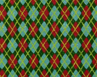 Spx Fabrics Green Christmas Argyle Christmas Holiday Fabric by the yard 25586-GRE1