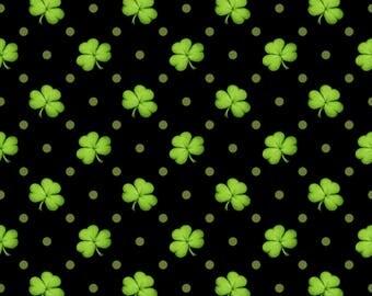 Henry Glass - Lucky Me - Shamrocks - Black - Fabric by the Yard 6852-99