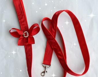 Dog Leash - Red Satin with Bling - Dog Wedding Leash