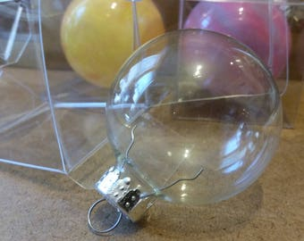 Set of 4 glass ornaments. Sized 2 inch. Destash! Clear glass ball ornament. Ready for DIY painting.