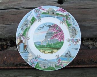 State Souvenir Plate Washington DC Vintage Decorative