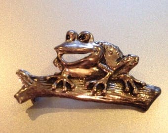 Sterling Silver Brooch Frog on a Log