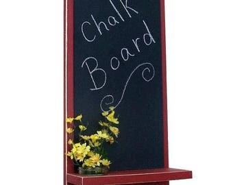 Chalkboard with Mason Jar, Shelf, Key Hooks, Painted Wood, Jar Holder