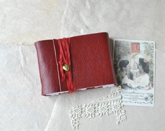 Little Red Leather Journal with Heart Locket - Love Journal