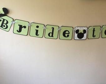 Lime Minnie Inspired Bride to Be Banner Mickey Die Cut Bridal Shower Wedding Sign Decoration Custom Made Banner Match Your Event or Party