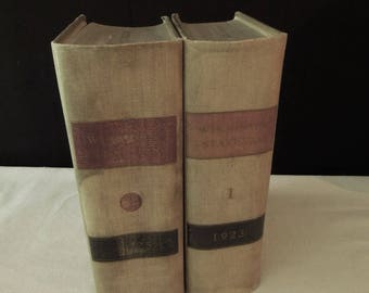 Old Law Statute Books - Tan Black Red Books for Decor - Office Instant Library Decoration - Vintage Book Stack