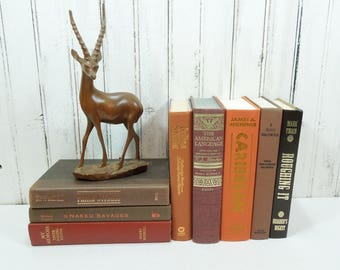 Coral Orange Brown Book Stack - Autumn Fall Masculine Man Cave Decor - Vintage Hardcover Books