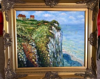Stunning Cliff Painting lots of Texture on Canvas Framed