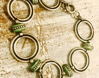 Very Cool Sterling Silver Circle  Art Deco Green Black Enamel Vintage Bracelet Art Deco Jewelry