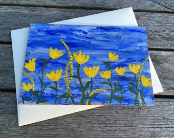 Hand-Painted Wood Greeting Card- yellow flowers on a blue sky background