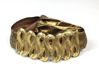 Vintage Abstract Swirl Buckle Leather Belt
