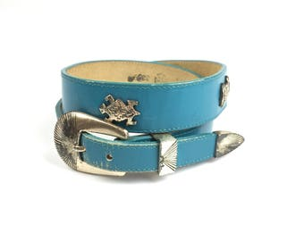 Vintage Silver Creek Southwestern Belt Turquoise with Silver Animals 30