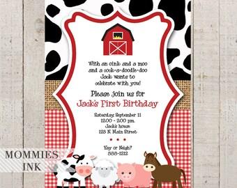 Farm Birthday Invitation, Farm Animals Invitation, Farm Invitation, Farm Party, Barnyard Invitation, Gingham Invitation, Burlap Invite