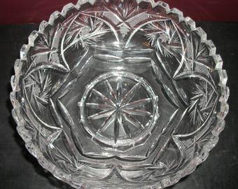 "Vintage Round Lead Crystal Serving Bowl 8"""