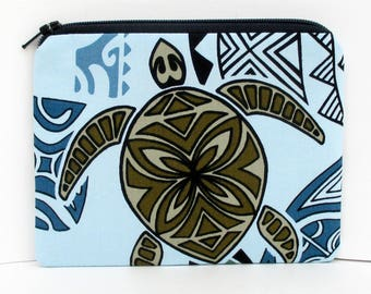 Small Zipper Pouch, Hawaiian Island Honu Sea Turtle, Light Blue, Zippered Bag
