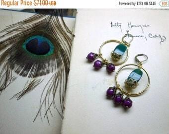I WANT CANDY. Green Jade & fuchsia Candy Jade Gypsy Boho OOaK Artisan hoop belly dance bohemian golden chandelier Earrings