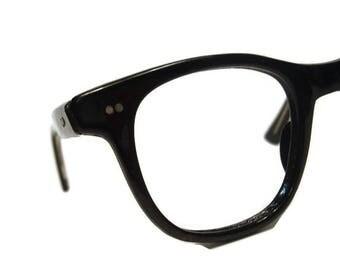 Vintage 50s Black Horned Rim Eyeglasses 44-24