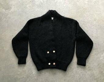 fluffy cardigan black mohair sweater   vintage mohair cardigan sweater   80s mohair sweater   1211039