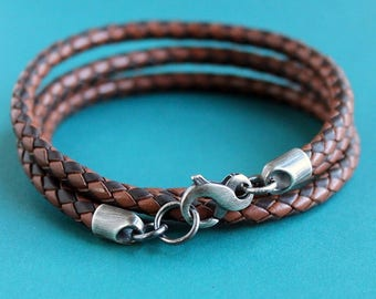 Mens Leather Wrap Bracelet, Braided Combo Brown, Silver Infinity Clasp