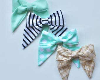 Petite Peanut Bitty Bow Headband - Picnic in the Park- Mint Chocolate Chip Ice Cream Set - Baby Girl Toddler - (Made to Order)