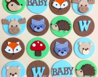 12 Woodland animals fondant cupcake toppers