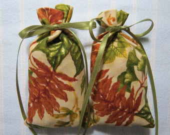 "Tan 4""X2"" Sachet-'Dirty(Type)' Fragrance-Green/Brown Leafy Cotton Fabric Herbal/Botanical Unisex Sachet-Cindy's Loft-327"
