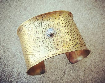Etched Brass Cuff Wide cuff