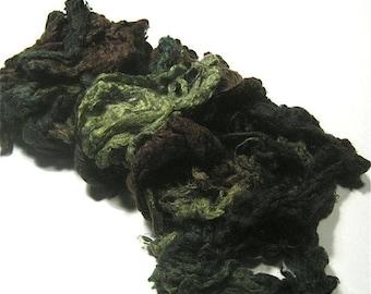 Painted Silk Noil - half ounce - Pine Forest - hand dyed spinning felting fiber - blending fiber - earthy mulberry silk green brown