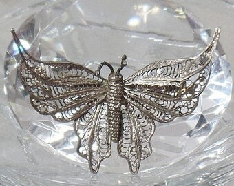 SALE Antique Victorian Cannetille Silver Butterfly Brooch.  Vintage Silver Filigree Butterfly Pin.