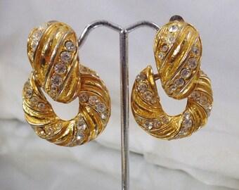 SALE Vintage Rhinestone Earrings. Bold Gold Plated. Showstopper.  Chunky Rhinestones Gold Earrings.  Doorknocker Earrings.