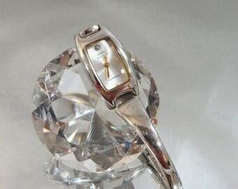 SALE Vintage Anne Klein II Diamond Watch. Women's. Silver. Designer Watch.