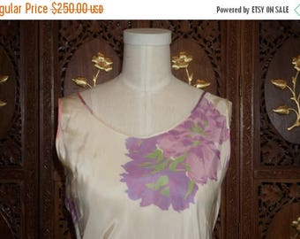 ON SALE Vintage 1930's Floral Silk and Taffeta Bias Cut Evening Gown