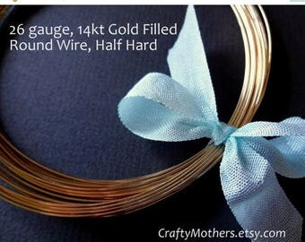 7% off SHOP SALE Remnant, 4 feet, 11 inches, 26 gauge 14kt Gold Filled Wire - Round, Half HARD, 14K/20, wire wrapping, precious metals