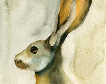 Jackrabbit Original watercolor painting 8x10inch