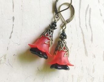 Red and Black Flower Earrings Lucite Enchanted Lily Faerie by MinouBazaar