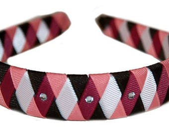 Boutique M2M Fox Trot Woven Girls Headband with Rhinestone Accents