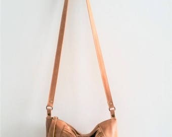 OnSALE Camel leather bag, Every day purse , Cross-body bag