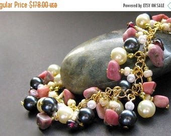 SUMMER SALE Gemstone Bracelet. Pearl Bracelet. Charm Bracelet in Garnet, Pink Rhodonite and Pearl. Artisan Jewelry.