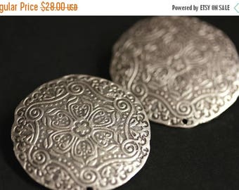 BACK to SCHOOL SALE Two (2) Viking Brooches. Stamped Silver Apron Pins. Norse Brooch Set. Spring Mandala Shoulder Brooches. Viking Jewelry.