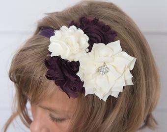 eggplant headband, plum elastic headband, cream headband, bridal headband, girl hair accessories, purple headband, eggplant elastic, baby
