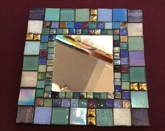 MOSAIC MIRROR - Shades of Blue, Aqua, Lavender, White, Gold, Green