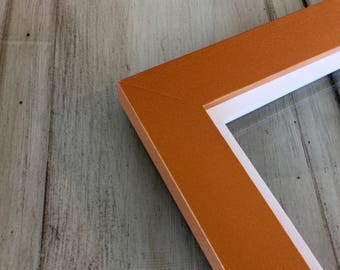 """Solid Color of Your Choice in Solid White Build Down Style - Choose your medium frame size 8x8, 7x9, 8x10, 9x9, 8x12, 8.5x11, A4 8.3x11.7"""""""