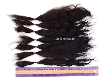 Black Mohair straight combed Locks long 11 in for reroot Blythe, monster high, reborn, waldorf, pullip, neemo, bjd, doll wig, Lafiabarussa