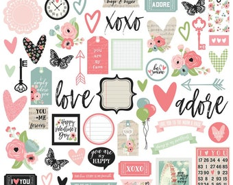 Romance Bits and Pieces Cardstock Die-Cuts 54/Pkg Carpe Diem Simple Stories (9415)