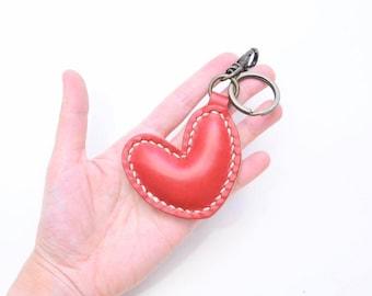 Ho-Ho-Sew Genuine Leather Red Heart Shape Keychain / Hair Accessory DIY Kit