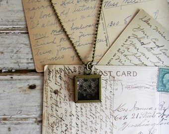 Antique Lace Pendant Necklace, Black Vintage Lace Necklace, Square Pendant, Textile Art, Textile Jewelry, Glass Encased Glass Pendant