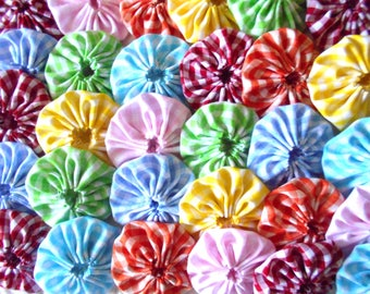 30 Gingham  Yo Yos Fabric Quilt Top Block Trim Embellishment Trim Applique Hair Clip