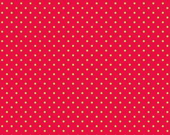All is Bright Christmas Holiday Fabric DewDrops Red Yellow Polka Dots