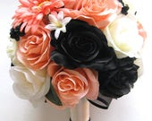 """Reserved listing 14 pc Wedding Silk flowers Bouquet Bridal PEACH BLACK Coral DAISY white package artificial boutonniere  """"RosesandDreams"""""""