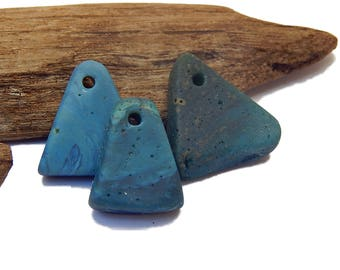 Leland Blue Pendants, DIY Jewelry Supplies, Lake Michigan slag glass, upnorth treasure, Foundry glass, Iron Ore Stone